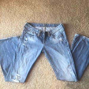Bebe Rhinestone stone washed jeans
